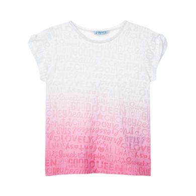 MAYORAL dívčí tričko KR s barevným přechodem bílá/růžová