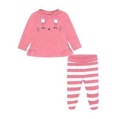MAYORAL dívčí set 2ks tričko DR a polodupačky s oušky, růžová/bílá