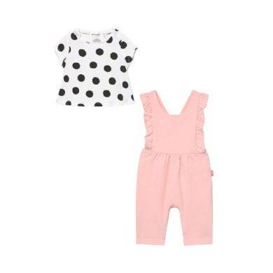 MAYORAL dívčí set tričko a kalhoty s laclem - bílá/růžová