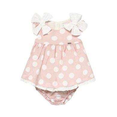 MAYORAL dívčí puntíkované šaty, růžová/bílá