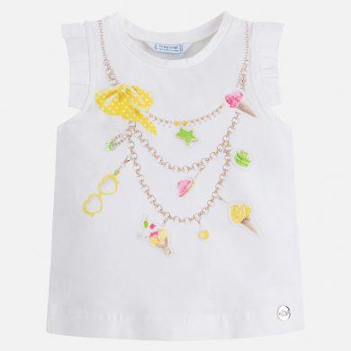 MAYORAL dívčí tričko s krátkým rukávem a štrasem Zmrzliny - bílé