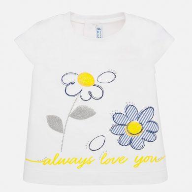MAYORAL dívčí triko s krátkým rukávem - bílé, kytky