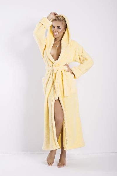DKAREN Dámský župan Diana dlouhý žlutý barva žlutá, velikost S