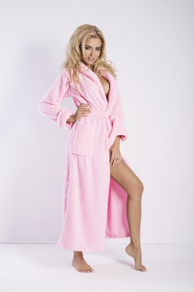 DKaren dámský župan Eliza dlouhý růžový barva růžová, velikost S