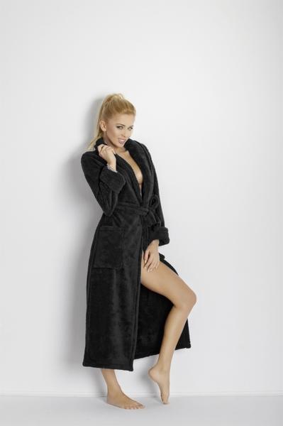 DKaren dámský dlouhý župan Eliza černá barva černá, velikost S