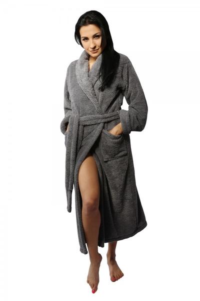 DKaren dámský župan Eliza dlouhý grey barva šedá, velikost S