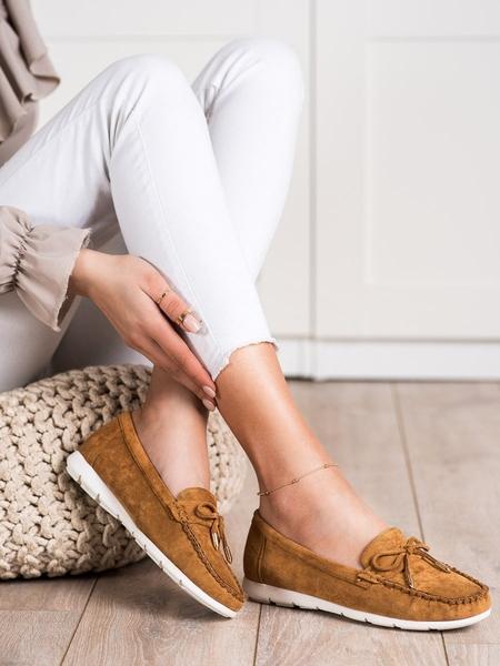 RENDA Zajímavé dámské  mokasíny hnědé bez podpatku velikost 36