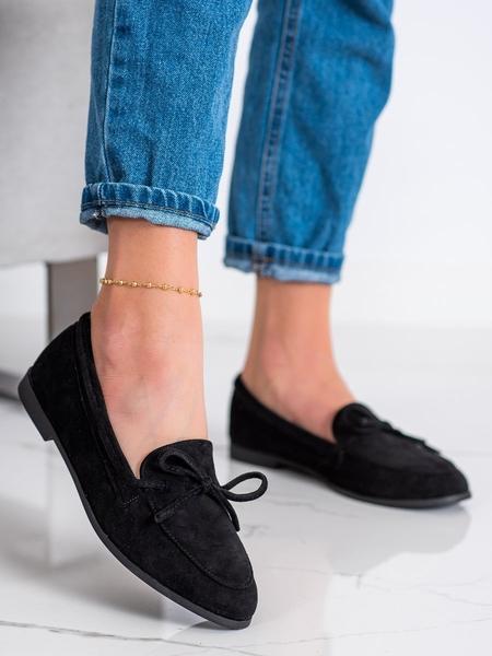 COURA Výborné dámské černé  mokasíny na plochém podpatku velikost 37