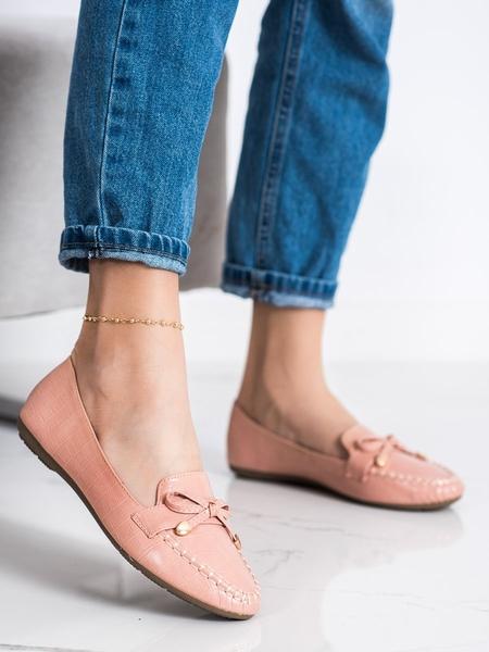 KAYLA Zajímavé  mokasíny dámské růžové bez podpatku velikost 36