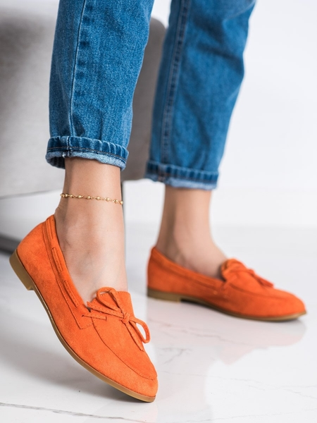 COURA Pohodlné  mokasíny dámské oranžové na plochém podpatku velikost 36