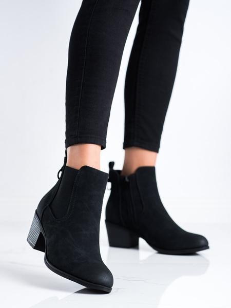 J. STAR Zajímavé černé  kotníčkové boty dámské na širokém podpatku velikost 36