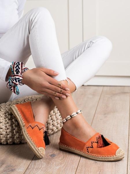BEST SHOES Krásné  tenisky oranžové dámské bez podpatku velikost 36
