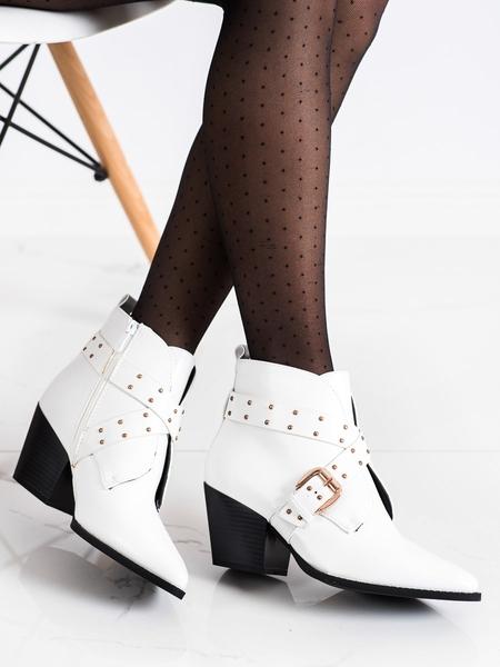 LUCKY SHOES Klasické  kotníčkové boty bílé dámské na širokém podpatku velikost 37