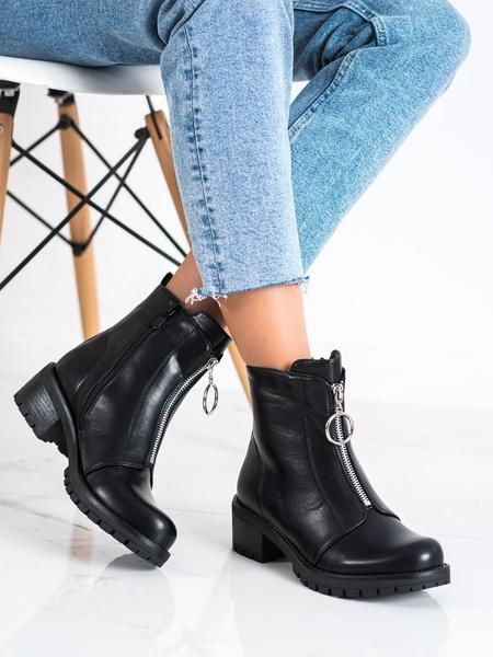 LUCKY SHOES Módní dámské  kotníčkové boty černé na plochém podpatku velikost 39