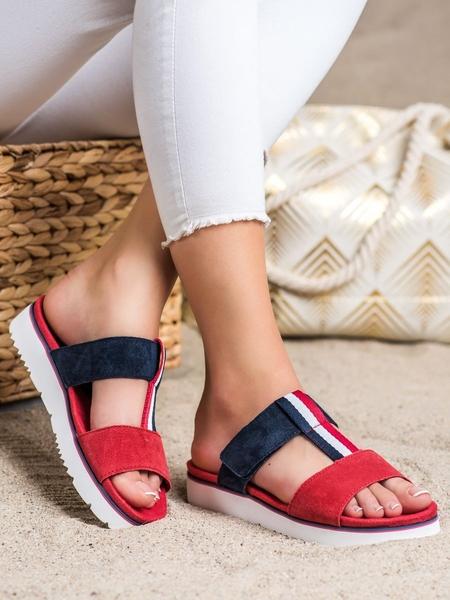 FILIPPO Zajímavé  nazouváky dámské červené bez podpatku velikost 36