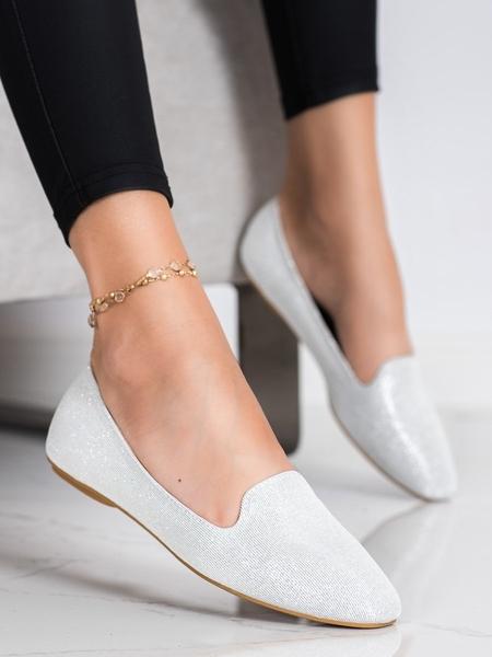 SUPER MODE Designové šedo-stříbrné  baleríny dámské bez podpatku velikost 36