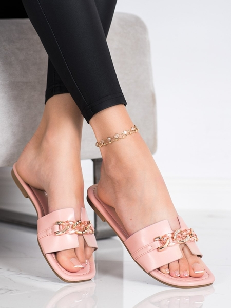 RENDA Exkluzívní růžové  nazouváky dámské na plochém podpatku velikost 36