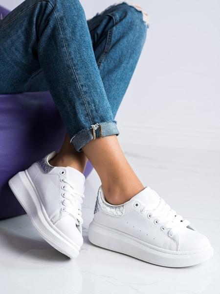 WEIDE Zajímavé bílé dámské  tenisky bez podpatku velikost 36