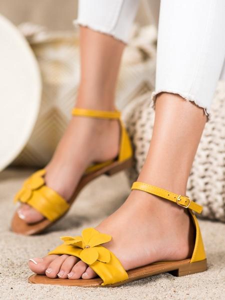 DIAMANTIQUE Luxusní zlaté  sandály dámské na plochém podpatku velikost 36