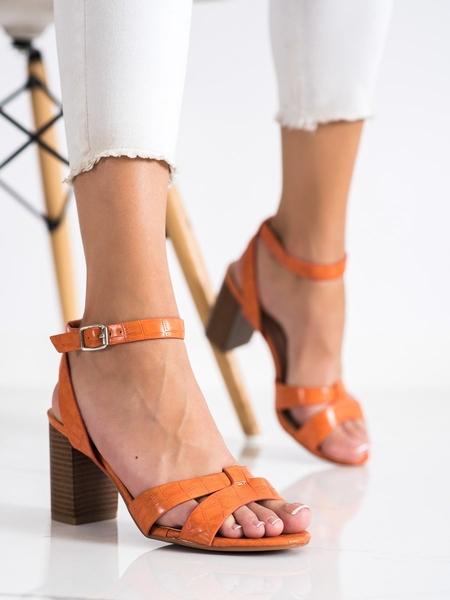RENDA Luxusní oranžové dámské  sandály na širokém podpatku velikost 37