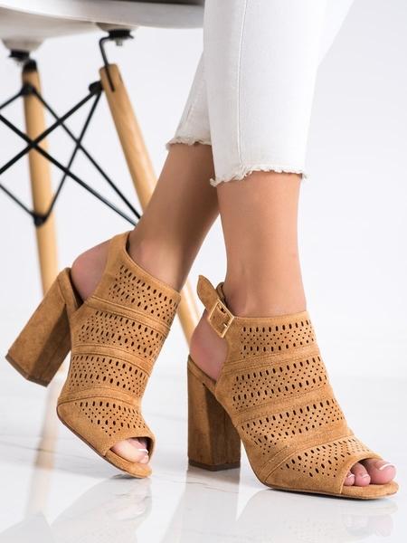 RENDA Stylové dámské hnědé  sandály na širokém podpatku velikost 36