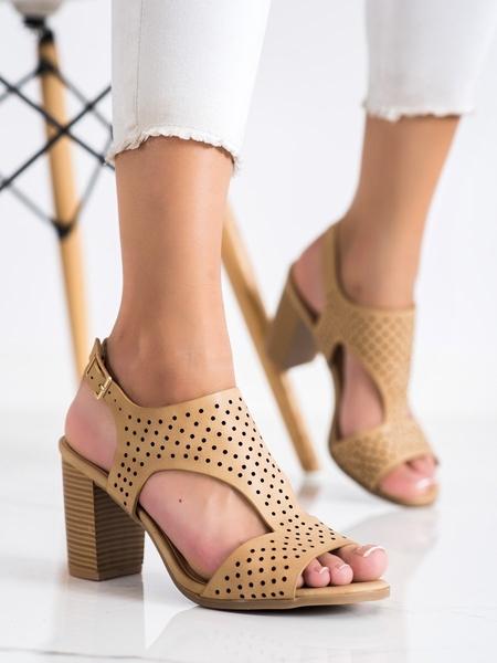 RENDA Stylové  sandály dámské hnědé na širokém podpatku velikost 36