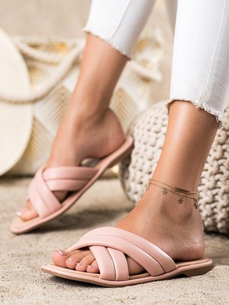 RENDA Originální  nazouváky dámské růžové bez podpatku velikost 36