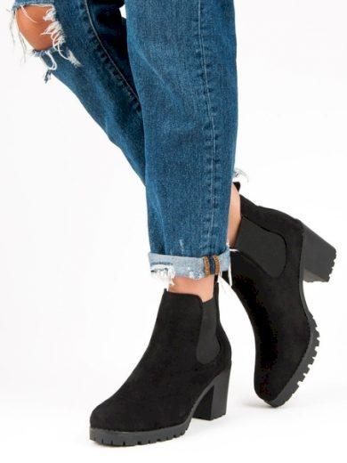 SUPER ME Klasické černé dámské  kotníčkové boty na širokém podpatku velikost 36