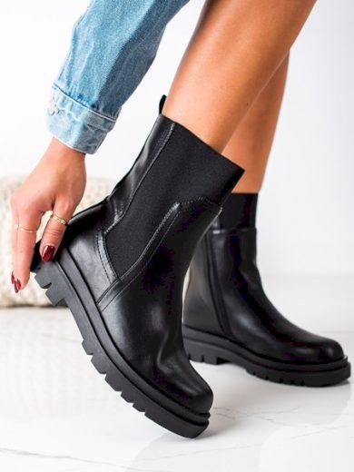 producent niezdefiniowany Exkluzívní  kotníčkové boty černé dámské na plochém podpatku velikost 36