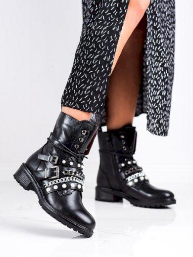 ERYNN Módní černé  kotníčkové boty dámské na plochém podpatku velikost 36