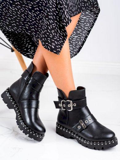 JANESSA Originální černé dámské  kotníčkové boty na plochém podpatku velikost 36