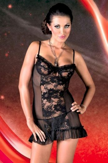 SOFTLINE COLLECTION Erotická košilka Lulu black barva černá, velikost M