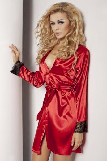 DKaren dámský župan Gina červená barva červená, velikost XS