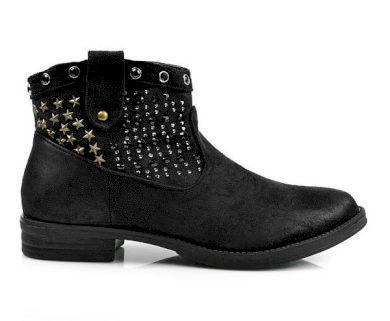 BELLE WOMEN Skvělé černé kotníčkové boty s hvězdičkami velikost 37