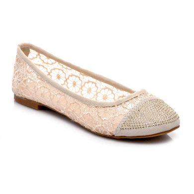 La Bella shoes Béžové krajkové baleríny s něžnými květinkami velikost 36