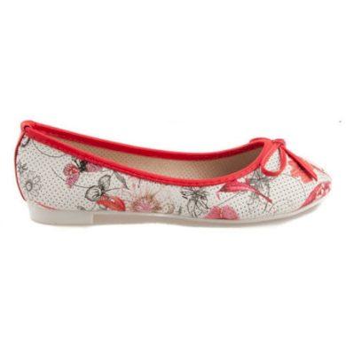 VICES Červené balerínky s květy velikost 36
