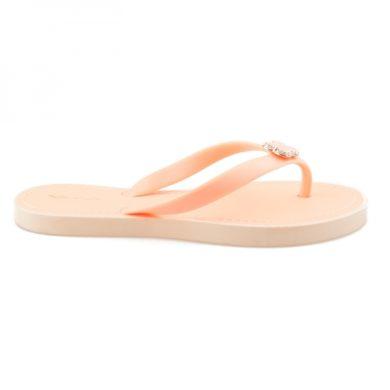 VICES Elegantní oranžové žabky s ozdobou velikost 36