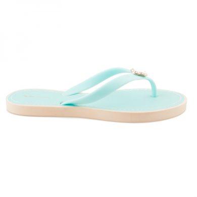 VICES Elegantní modré žabky s ozdobou velikost 37