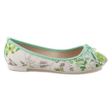 VICES Zelené balerínky s květy velikost 38