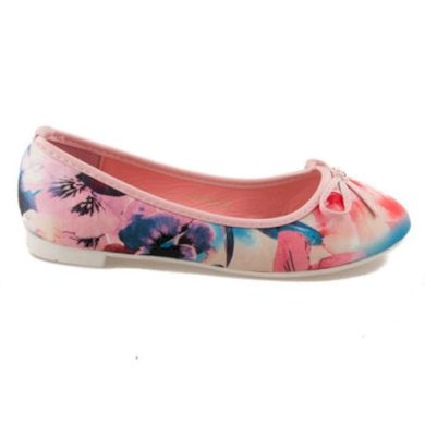VICES Unikátní růžové dámské baleríny s květy velikost 37