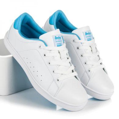 AMERICAN CLUB Pohodlné bílé dámské tenisky na šněrování velikost 36