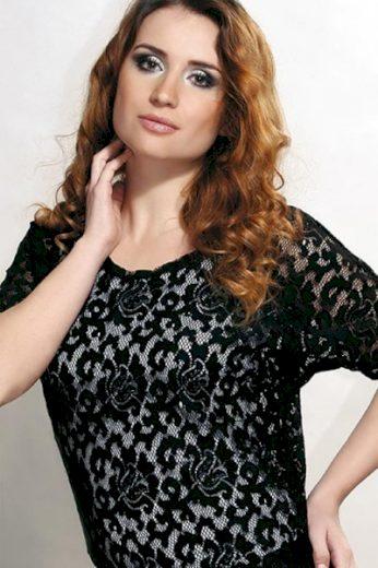 VIOLANA Halenka Violana Holly black - krátký rukáv barva černá, velikost M