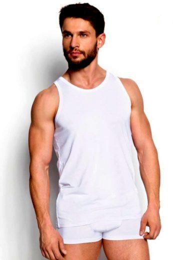 Esotiq & henderson Pánský nátělník 34323 Grant white barva bílá, velikost M