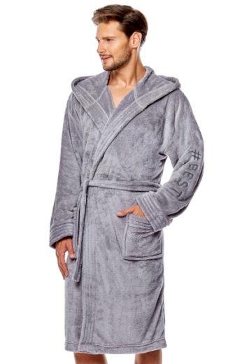 L&L Pánský župan 8133 grey barva šedá, velikost L