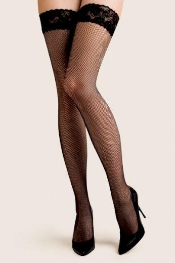 GABRIELLA Samodržící punčochy Calze Kabarette 151 nero barva černá, velikost XS/S