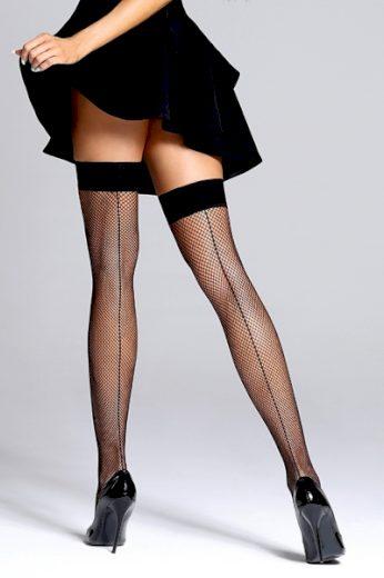 BAS BLEU Samodržící punčochy Gloria black barva černá, velikost S