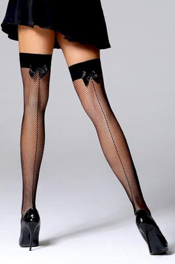 BAS BLEU Samodržící punčochy Mikaela black barva černá, velikost M