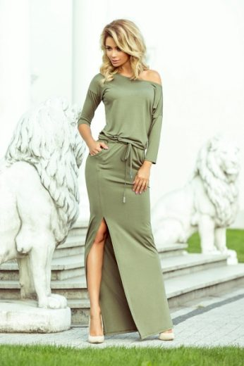 NUMOCO Dámské šaty 220-1 barva olivová, velikost S