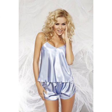 DKaren Karen dámské pyžamo saténové light blue barva světle modrá, velikost S
