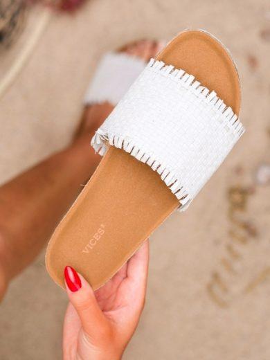 VICES Komfortní dámské bílé  nazouváky bez podpatku velikost 39